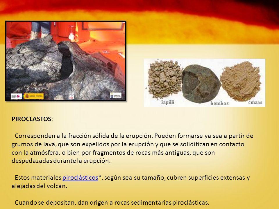 PIROCLASTOS: Corresponden a la fracción sólida de la erupción