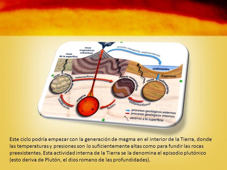Este ciclo podría empezar con la generación de magma en el interior de la Tierra, donde las temperaturas y presiones son lo suficientemente altas como para fundir las rocas preexistentes.