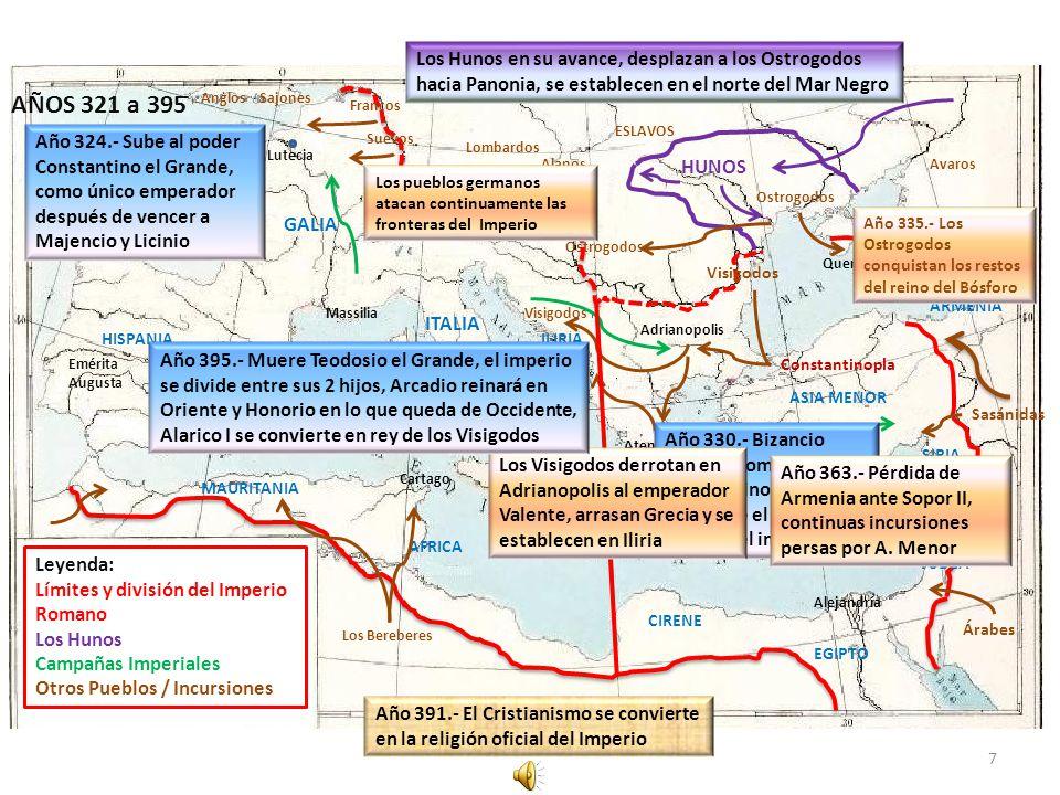 Los Hunos en su avance, desplazan a los Ostrogodos hacia Panonia, se establecen en el norte del Mar Negro