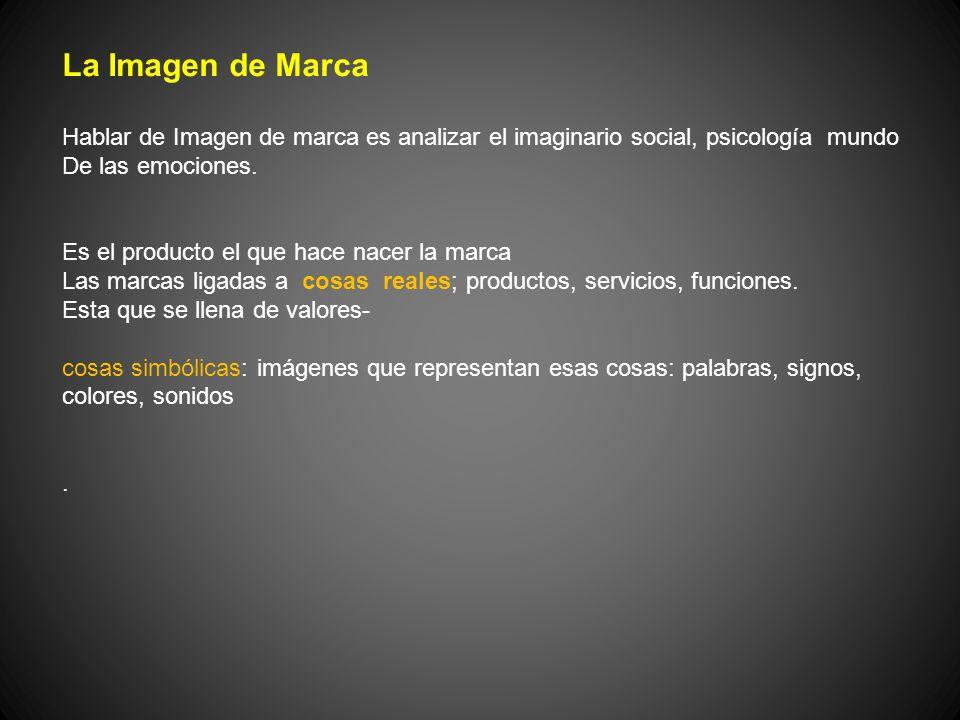 La Imagen de Marca Hablar de Imagen de marca es analizar el imaginario social, psicología mundo. De las emociones.