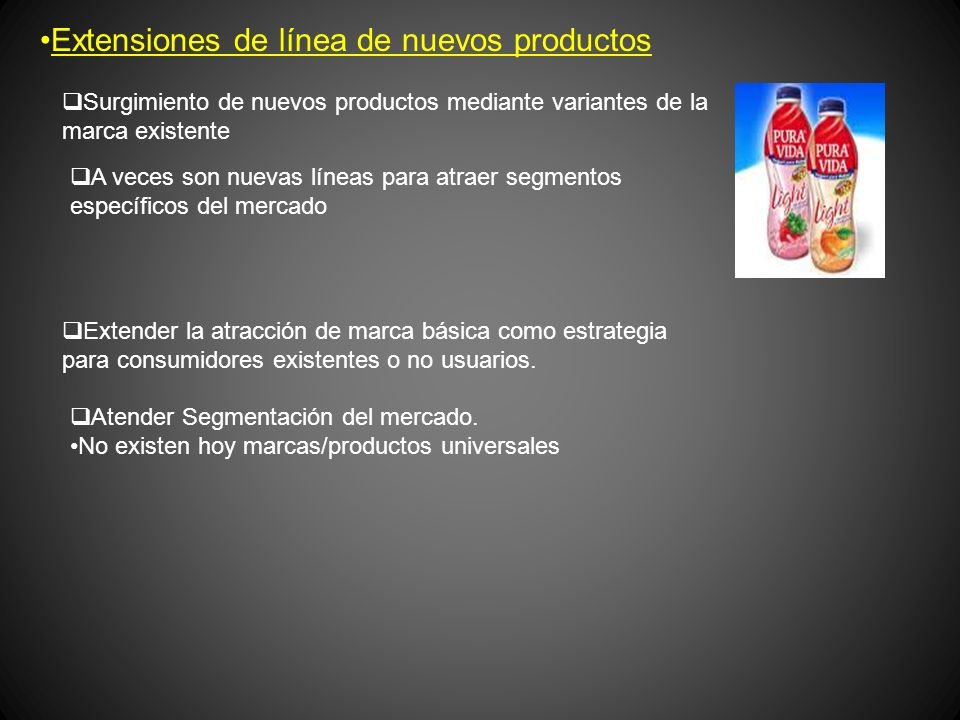 Extensiones de línea de nuevos productos