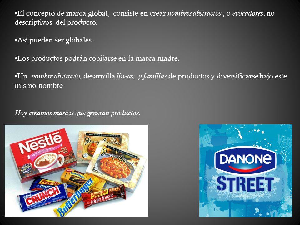 El concepto de marca global, consiste en crear nombres abstractos , o evocadores, no descriptivos del producto.