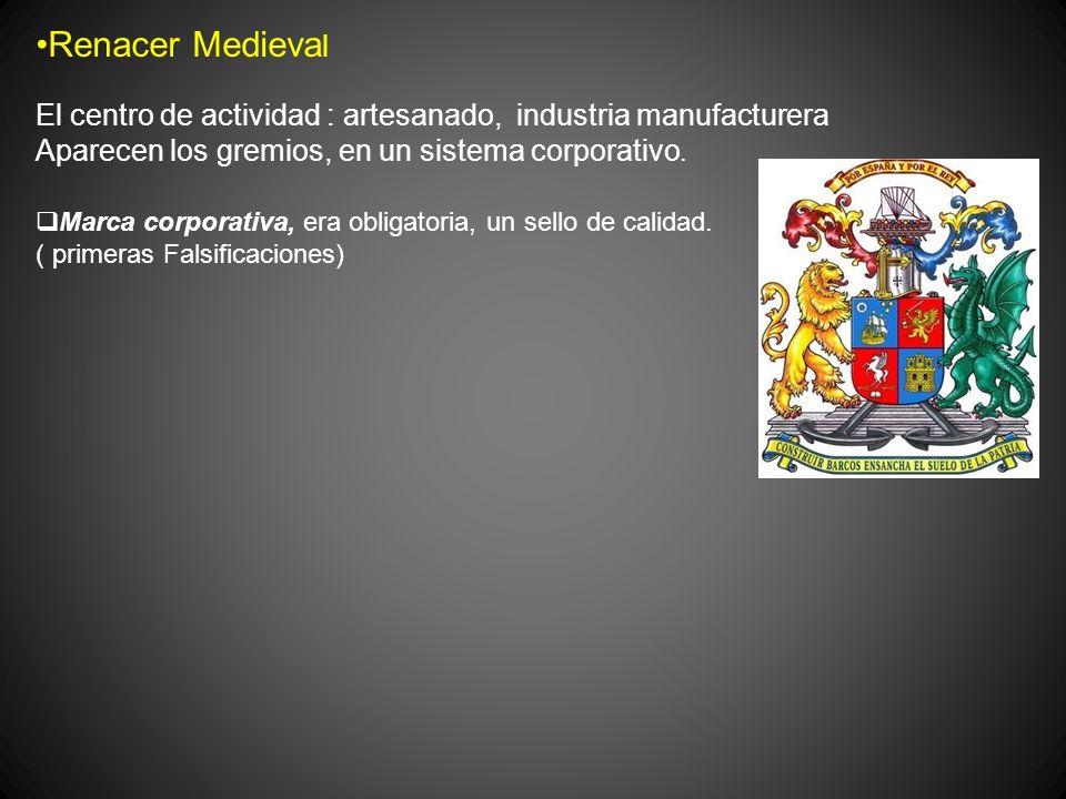 Renacer Medieval El centro de actividad : artesanado, industria manufacturera. Aparecen los gremios, en un sistema corporativo.