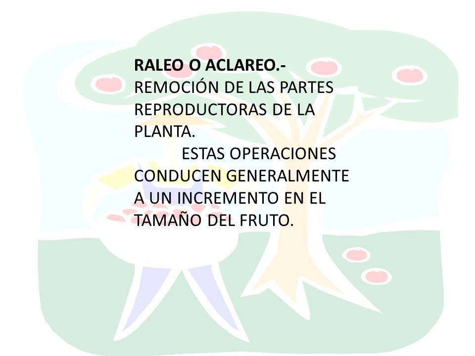 RALEO O ACLAREO.- REMOCIÓN DE LAS PARTES REPRODUCTORAS DE LA PLANTA.