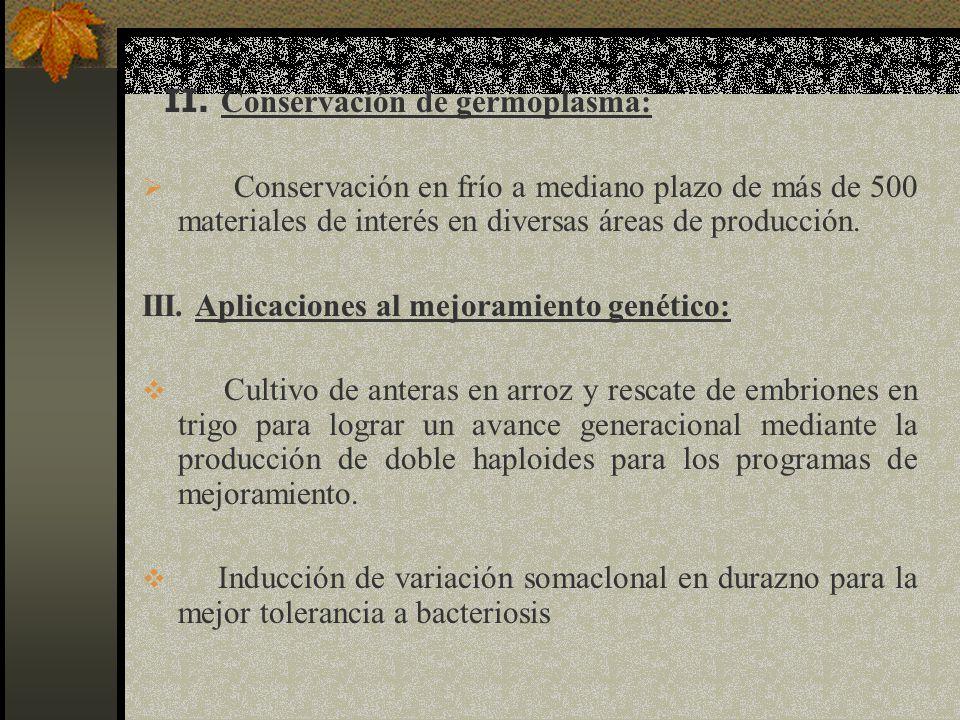 II. Conservación de germoplasma: