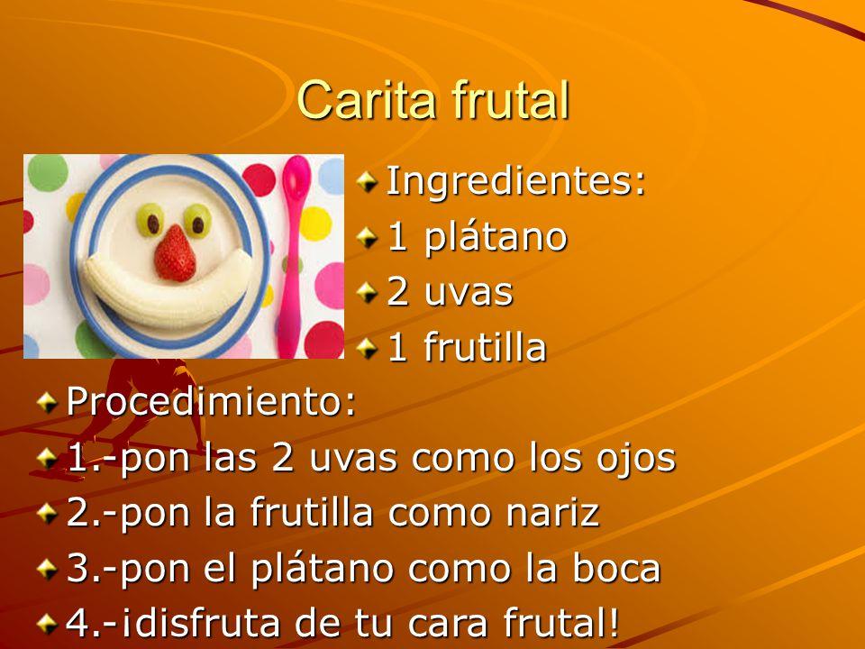 Carita frutal Ingredientes: 1 plátano 2 uvas 1 frutilla Procedimiento: