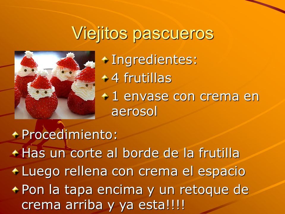 Viejitos pascueros Ingredientes: 4 frutillas