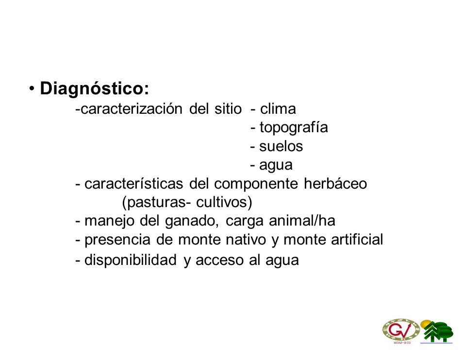 Diagnóstico: -caracterización del sitio - clima - topografía - suelos