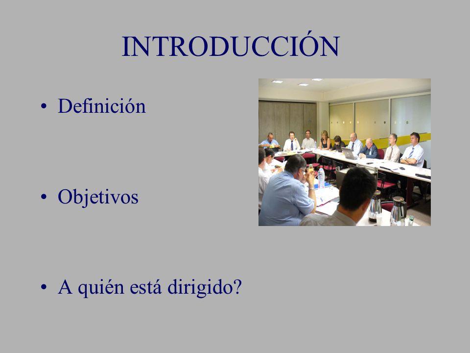 INTRODUCCIÓN Definición Objetivos A quién está dirigido