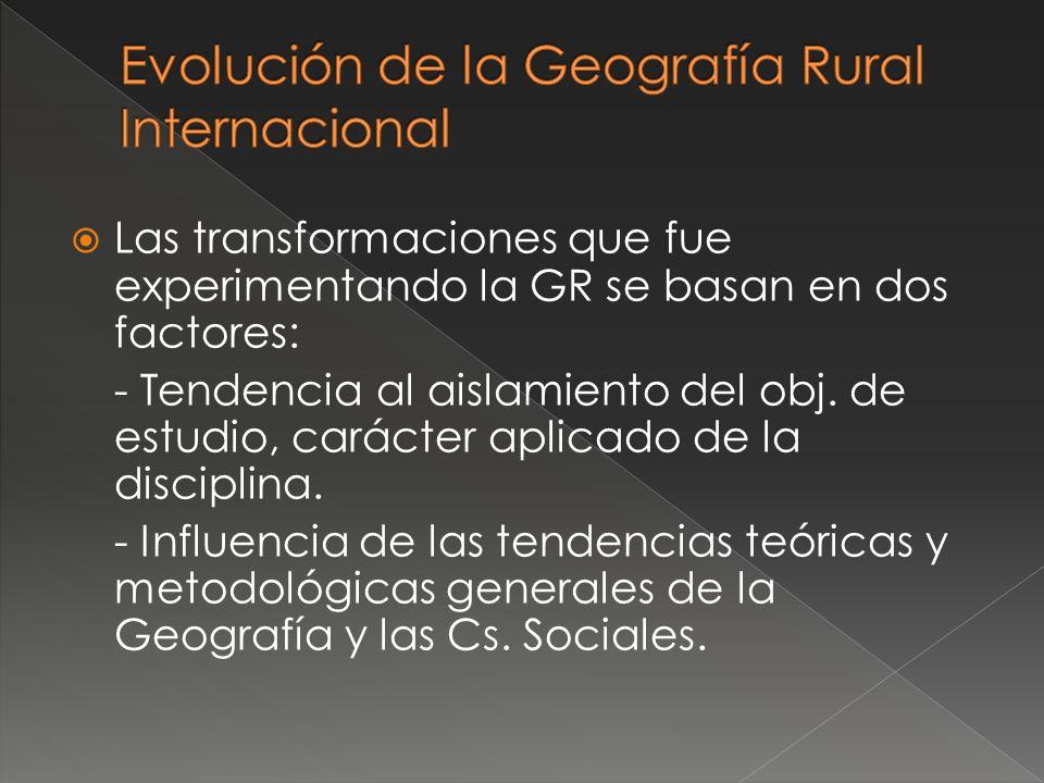 Evolución de la Geografía Rural Internacional