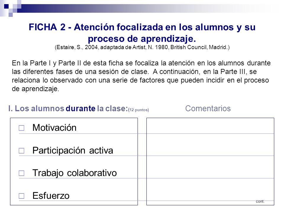 FICHA 2 - Atención focalizada en los alumnos y su proceso de aprendizaje. (Estaire, S., 2004, adaptada de Artist, N. 1980, British Council, Madrid.)