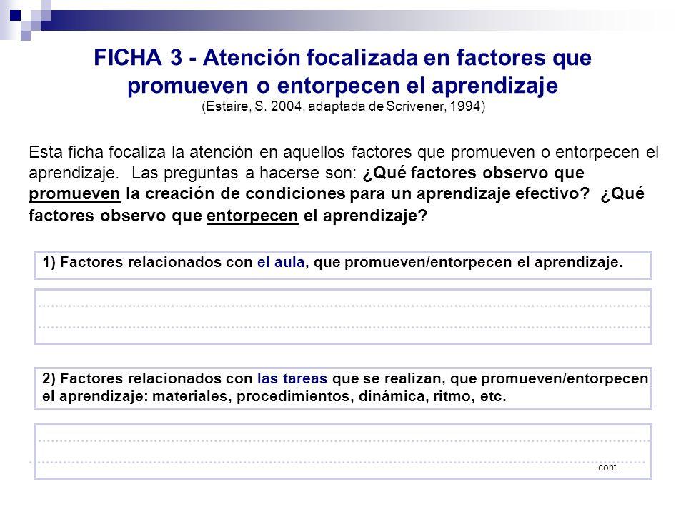 FICHA 3 - Atención focalizada en factores que promueven o entorpecen el aprendizaje (Estaire, S. 2004, adaptada de Scrivener, 1994)