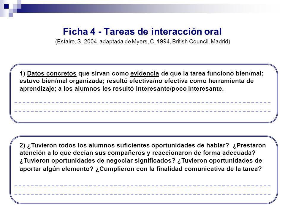 Ficha 4 - Tareas de interacción oral (Estaire, S