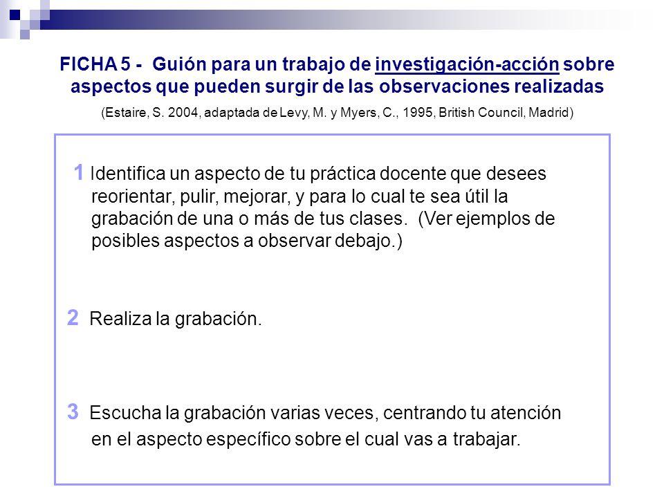 FICHA 5 - Guión para un trabajo de investigación-acción sobre aspectos que pueden surgir de las observaciones realizadas
