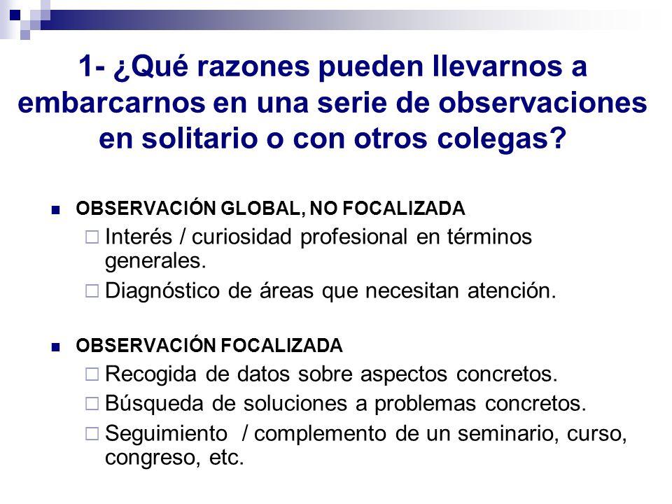 1- ¿Qué razones pueden llevarnos a embarcarnos en una serie de observaciones en solitario o con otros colegas