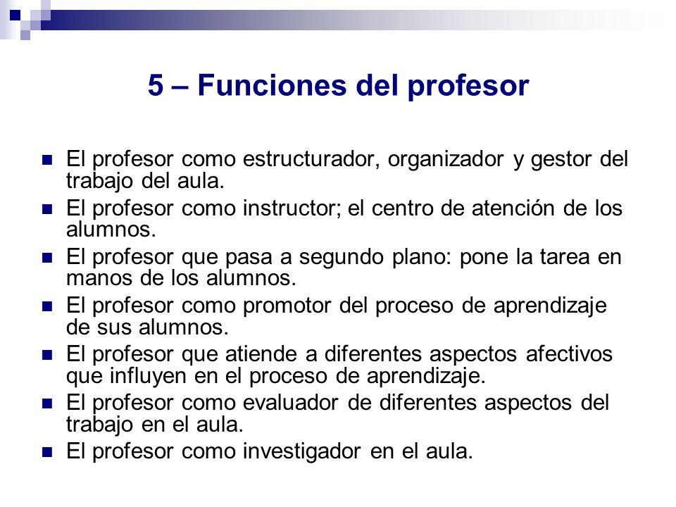 5 – Funciones del profesor
