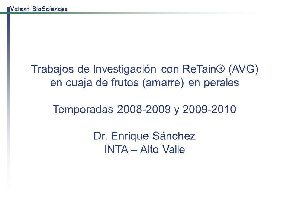 Trabajos de Investigación con ReTain® (AVG) en cuaja de frutos (amarre) en perales