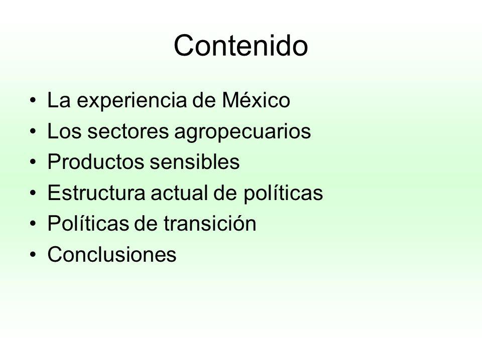 Contenido La experiencia de México Los sectores agropecuarios