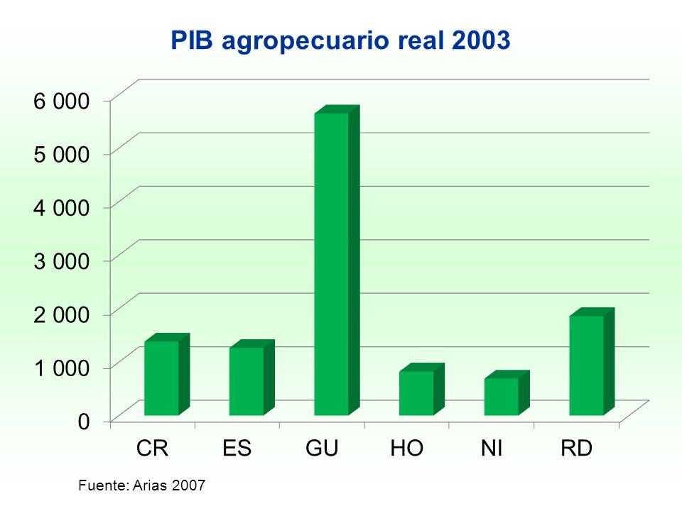 PIB agropecuario real 2003 Fuente: Arias 2007