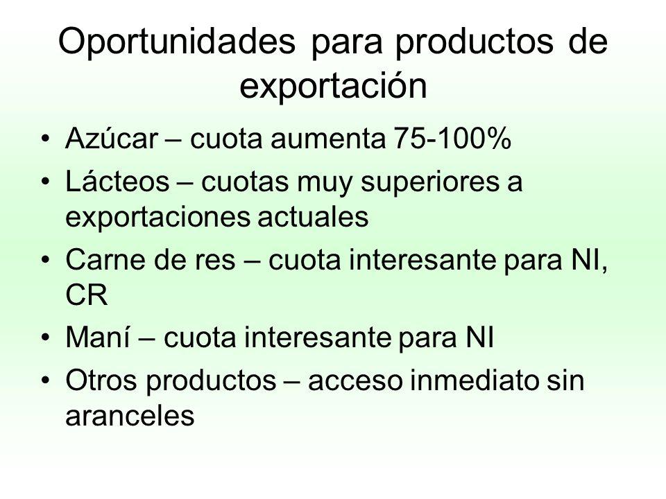 Oportunidades para productos de exportación