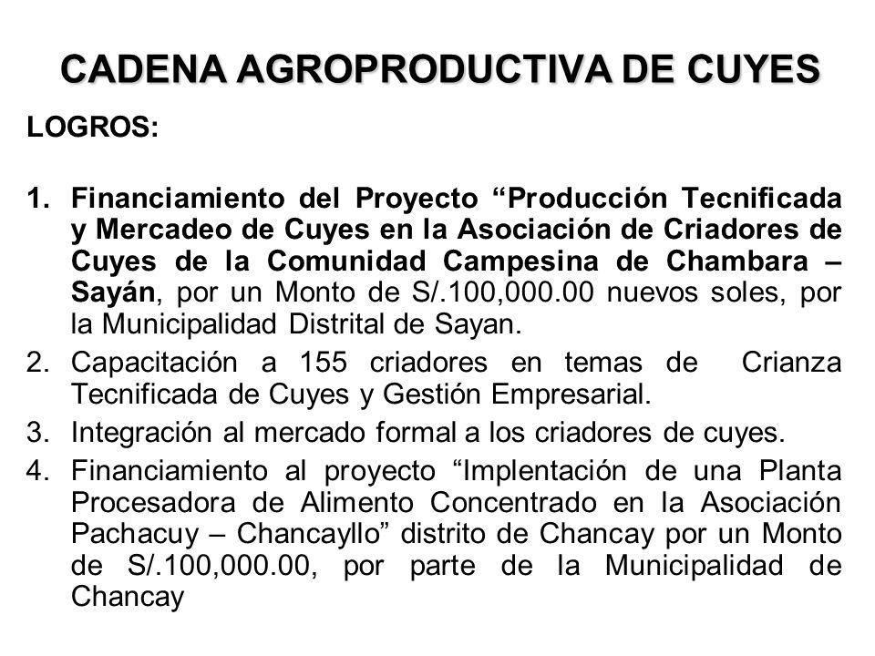 CADENA AGROPRODUCTIVA DE CUYES