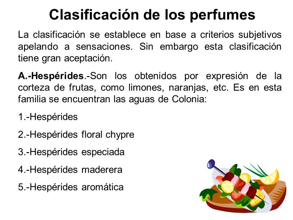 Clasificación de los perfumes