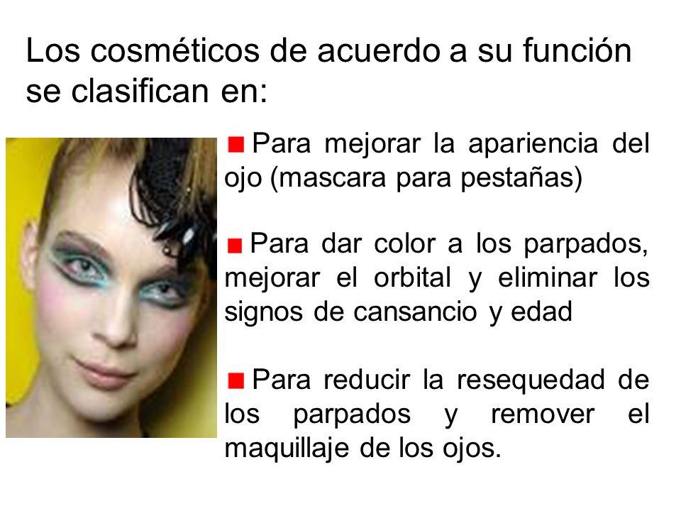 Los cosméticos de acuerdo a su función se clasifican en: