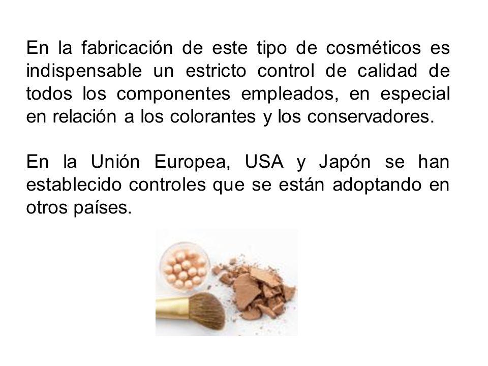 En la fabricación de este tipo de cosméticos es indispensable un estricto control de calidad de todos los componentes empleados, en especial en relación a los colorantes y los conservadores.