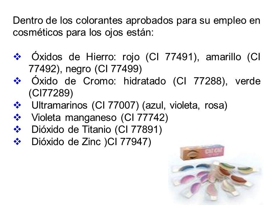 Dentro de los colorantes aprobados para su empleo en cosméticos para los ojos están: