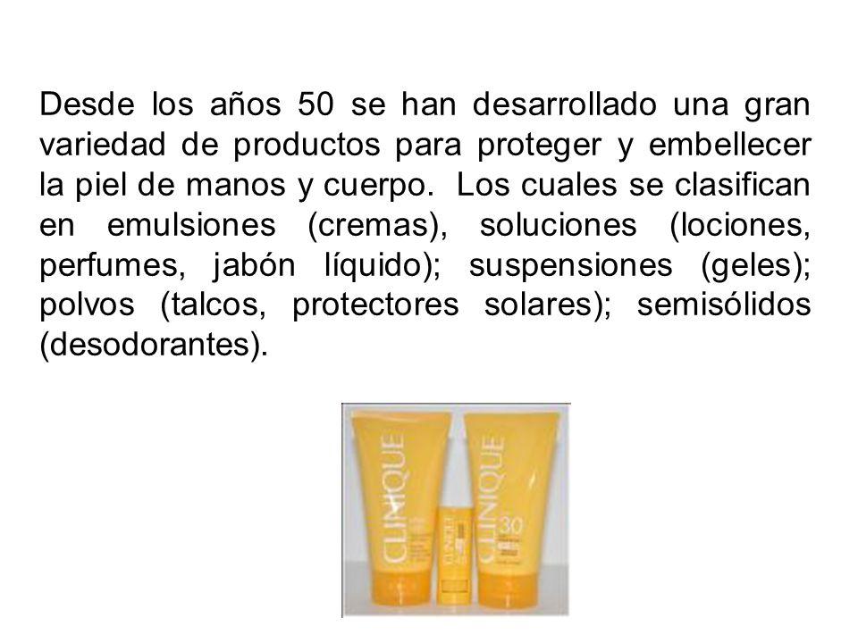 Desde los años 50 se han desarrollado una gran variedad de productos para proteger y embellecer la piel de manos y cuerpo.