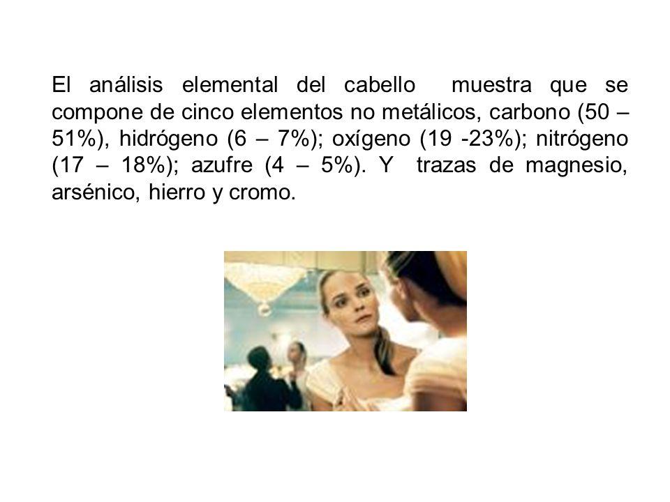 El análisis elemental del cabello muestra que se compone de cinco elementos no metálicos, carbono (50 – 51%), hidrógeno (6 – 7%); oxígeno (19 -23%); nitrógeno (17 – 18%); azufre (4 – 5%).