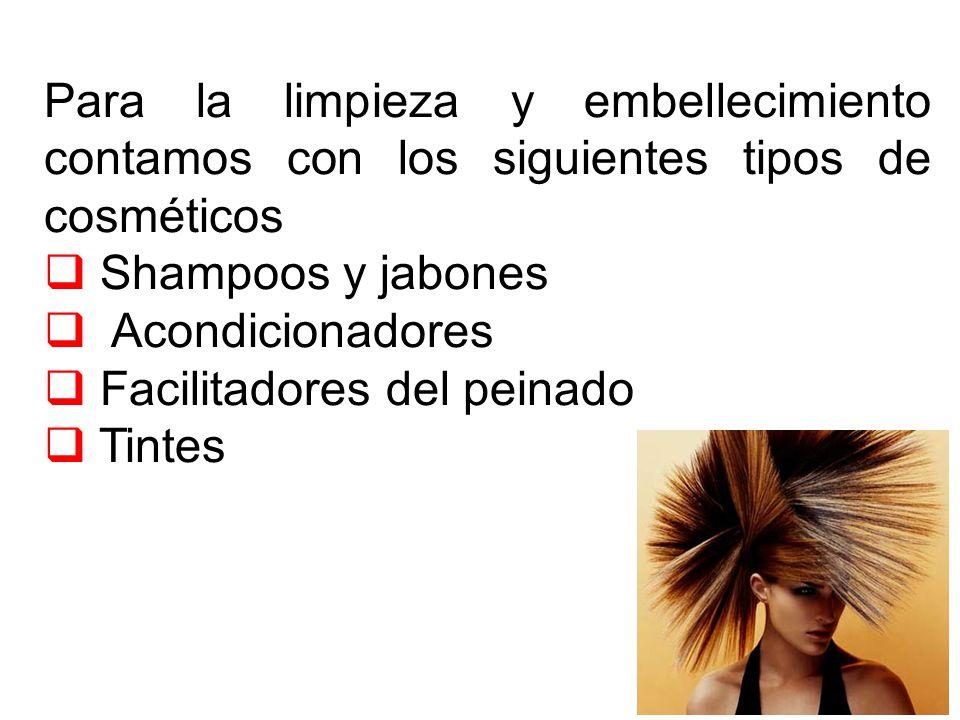Para la limpieza y embellecimiento contamos con los siguientes tipos de cosméticos