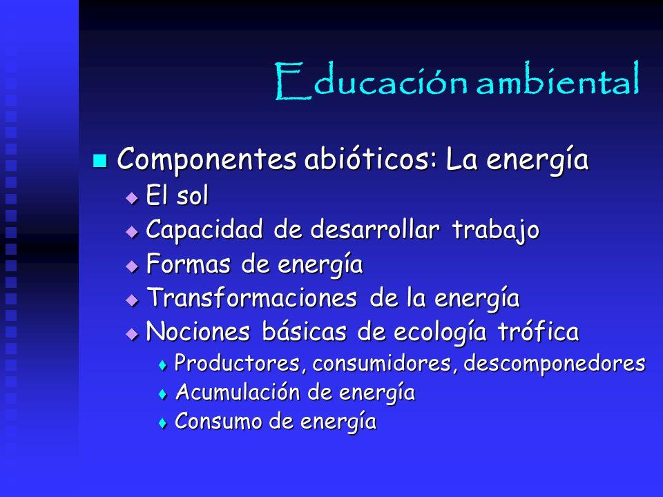 Educación ambiental Componentes abióticos: La energía El sol