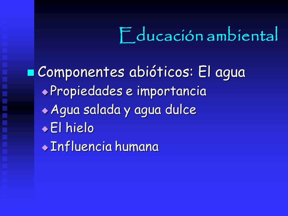 Educación ambiental Componentes abióticos: El agua