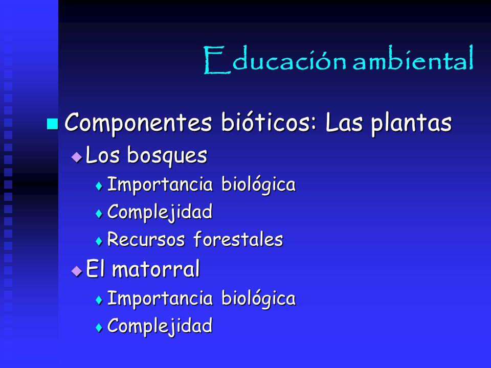 Educación ambiental Componentes bióticos: Las plantas Los bosques