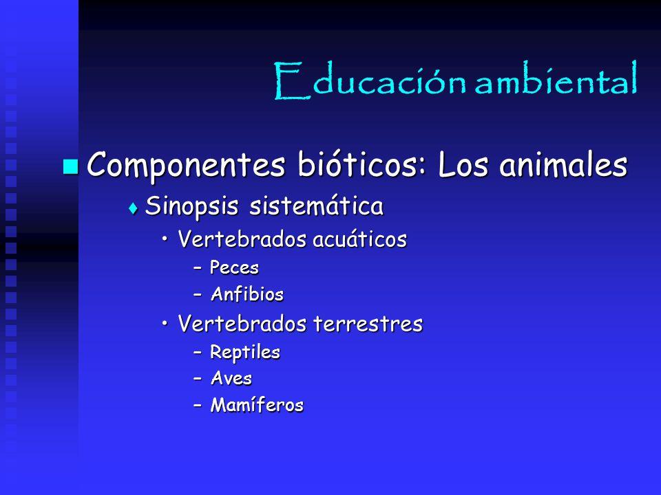 Educación ambiental Componentes bióticos: Los animales