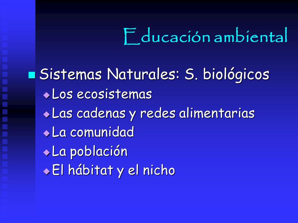 Educación ambiental Sistemas Naturales: S. biológicos Los ecosistemas