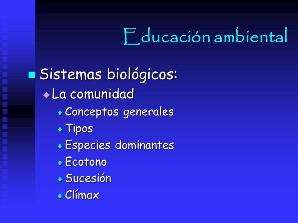 Educación ambiental Sistemas biológicos: La comunidad