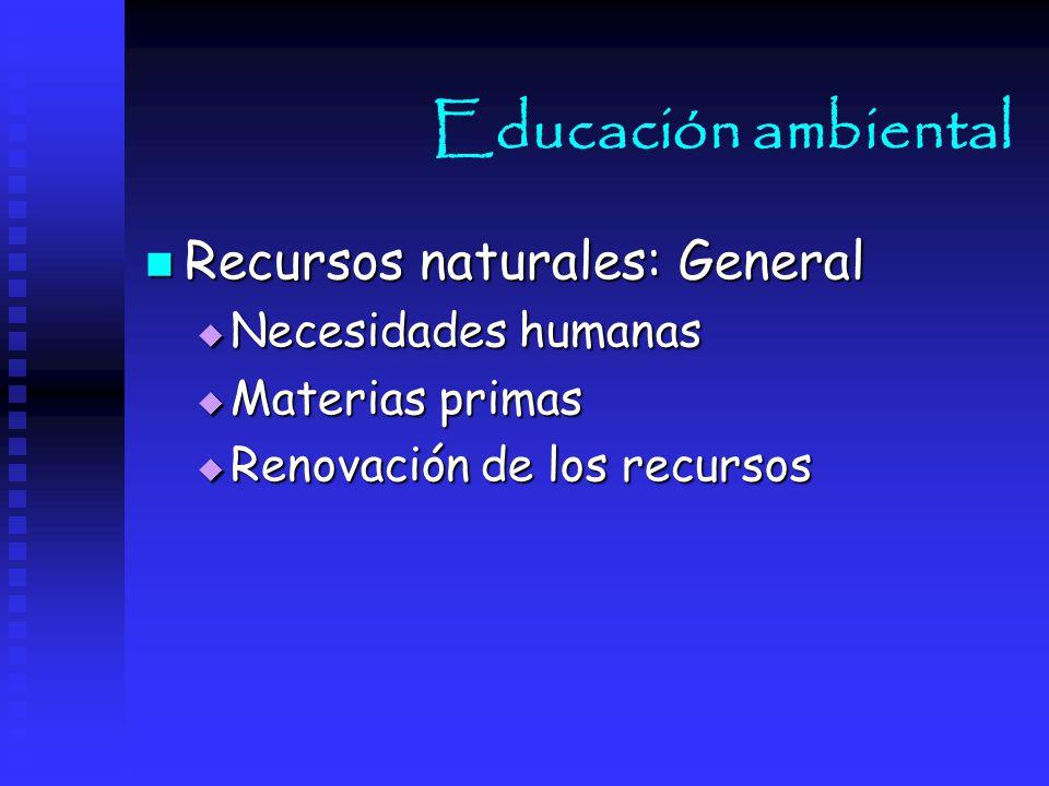Educación ambiental Recursos naturales: General Necesidades humanas