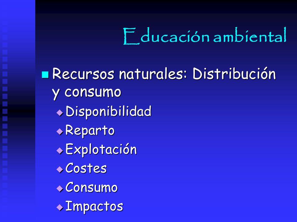 Educación ambiental Recursos naturales: Distribución y consumo