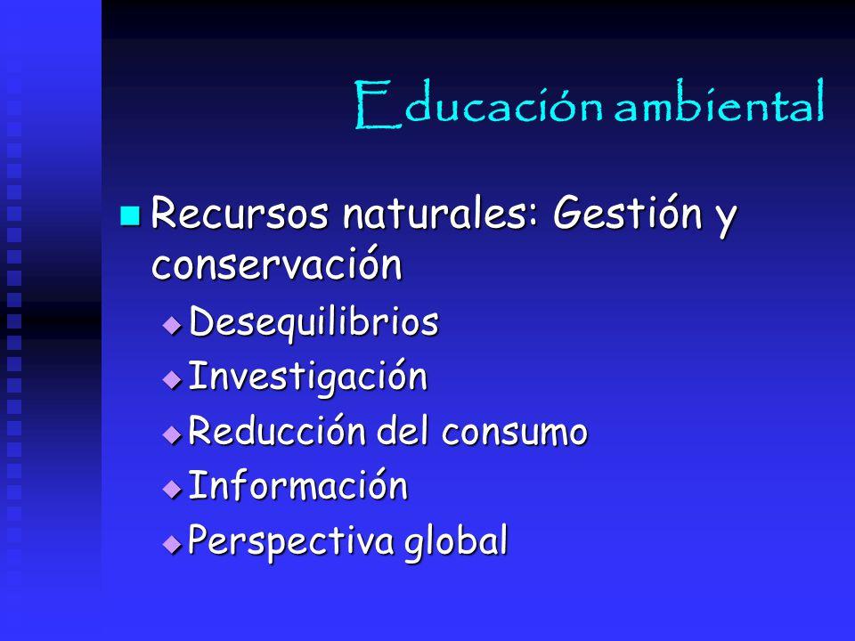 Educación ambiental Recursos naturales: Gestión y conservación