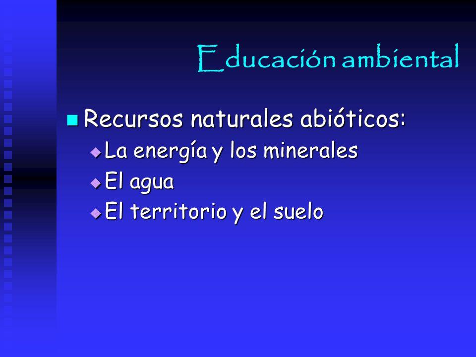 Educación ambiental Recursos naturales abióticos: