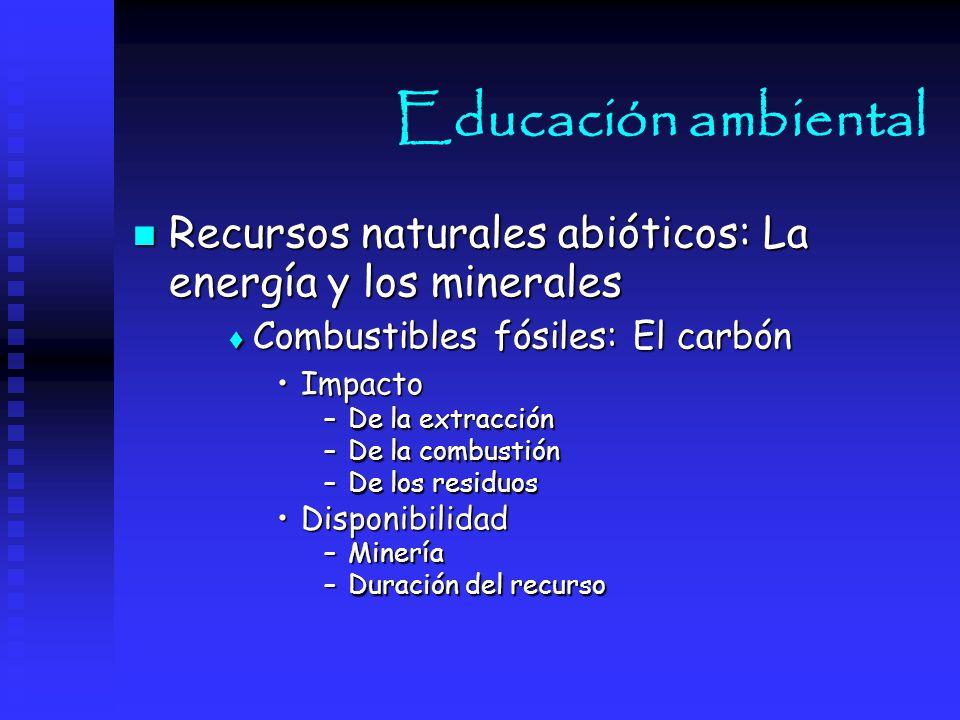 Educación ambiental Recursos naturales abióticos: La energía y los minerales. Combustibles fósiles: El carbón.