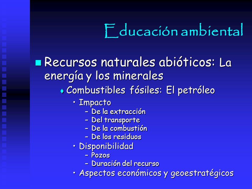 Educación ambiental Recursos naturales abióticos: La energía y los minerales. Combustibles fósiles: El petróleo.