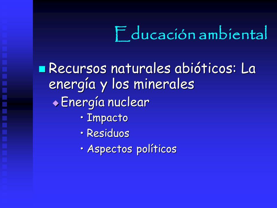 Educación ambiental Recursos naturales abióticos: La energía y los minerales. Energía nuclear. Impacto.