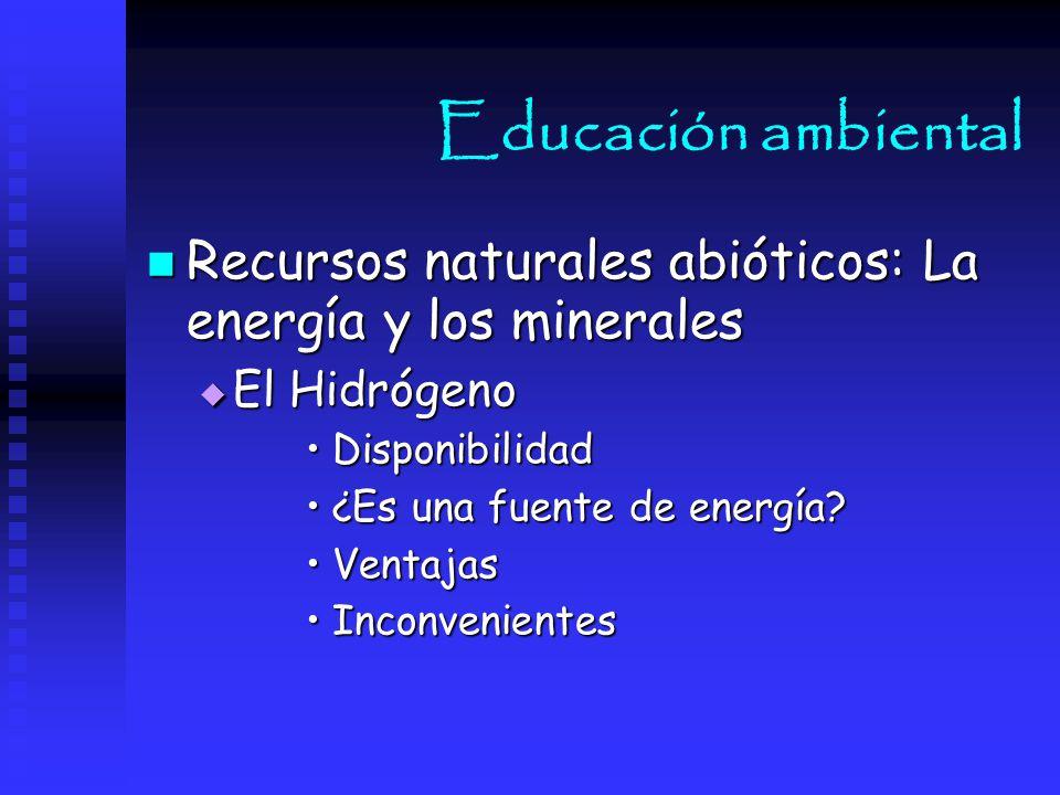 Educación ambiental Recursos naturales abióticos: La energía y los minerales. El Hidrógeno. Disponibilidad.