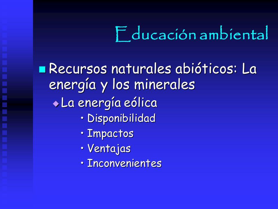 Educación ambiental Recursos naturales abióticos: La energía y los minerales. La energía eólica. Disponibilidad.