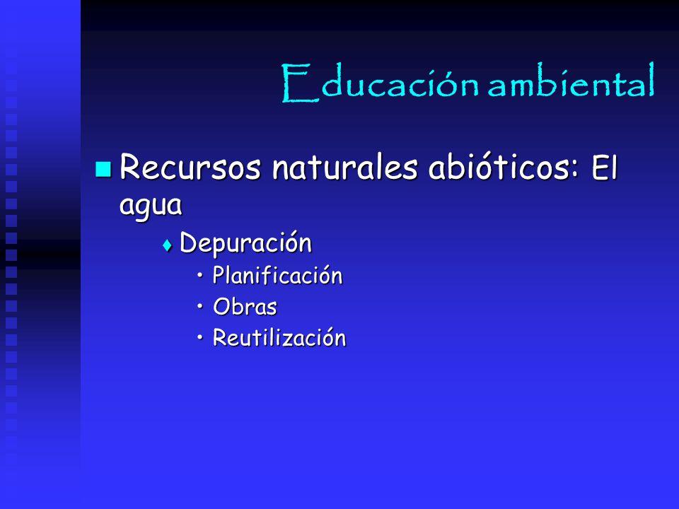 Educación ambiental Recursos naturales abióticos: El agua Depuración