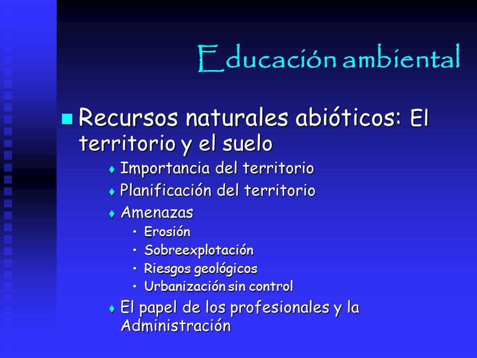 Educación ambiental Recursos naturales abióticos: El territorio y el suelo. Importancia del territorio.