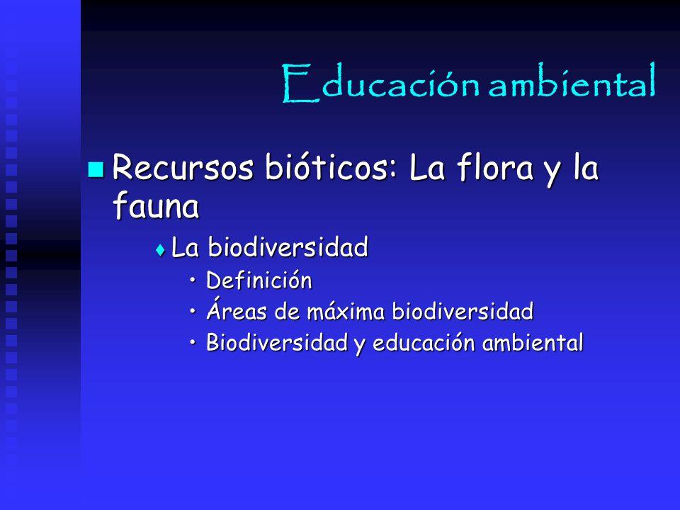 Educación ambiental Recursos bióticos: La flora y la fauna